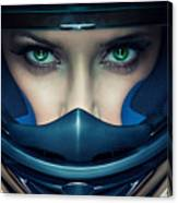 Sexy Woman In Helmet On Blue Background Canvas Print