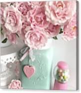 Shabby Chic Pink Roses In Aqua Mason Jar Romantic Cottage Floral Print Home Decor Canvas Print