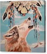 Shaman Mask And Wolf Canvas Print