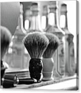 Shaving Brushes At Barbershop Canvas Print