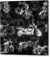 Shiny Bikes Galore In Black And White Canvas Print