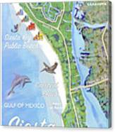 Siesta Key Illustrated Map Canvas Print