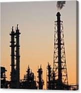 Silhouette Of Petrochemical Plant Canvas Print