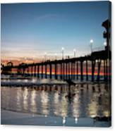 Silhouette Of Surfer At Huntington Canvas Print