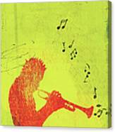 Silhouette Of Trumpet Player Canvas Print