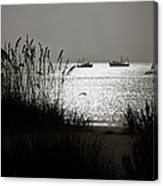 Silhouettes Of Sea Oats And Shrimp Boats Canvas Print