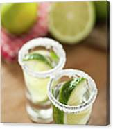 Silver Tequila, Limes And Salt Canvas Print