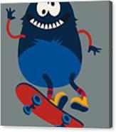 Skater Monster Victor Design For Kids Canvas Print