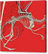 Skeleton Dragon With Red Canvas Print