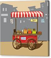 Sketch Of Street Food Carts, Cartoon Canvas Print