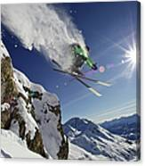 Skier In Midair On Snowy Mountain Canvas Print