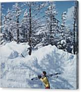 Skier In Vermont Canvas Print