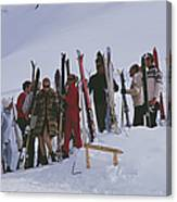 Skiers At Gstaad Canvas Print