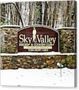 Sky Valley Georgia Welcome Sign In The Snow Canvas Print