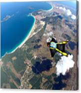 Skydive Wing Suit Over Brazilian Beach Canvas Print