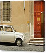 Small Coupe Parked Near A Doorway On A Canvas Print