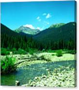 Small Stream Foreground The Rockies Canvas Print
