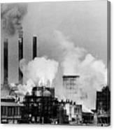 Smoke Rising From Factory Smokestacks Canvas Print