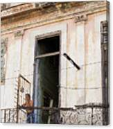 Smoker On Balcony In Cuba Canvas Print