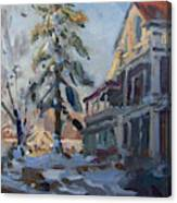 Snow In Town Canvas Print
