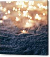 Snowy Winter Background With Fairy Lights. Canvas Print