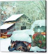 Softly Snowing On The Country Farm Canvas Print