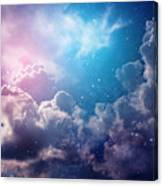Space Of Night Sky With Cloud And Stars Canvas Print