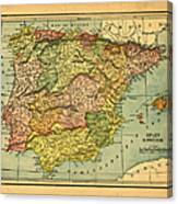 Spain & Portugal Vintage Map Canvas Print