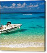 Speedboat Moored At Conroy Beach Canvas Print