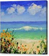 Spring Flowers And Sea And Clouds Canvas Print