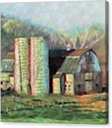 Spring On The Farm - Old Barn With Two Silos Canvas Print