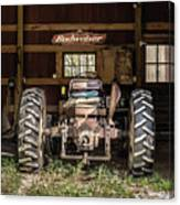 Square Format Old Tractor In The Barn Vermont Canvas Print