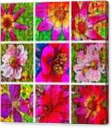 Stained Glass Pink Flower Collage  Canvas Print