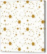Star, Pattern, White, Background, Gold Canvas Print