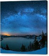 Starry Night Over The Crater Lake Canvas Print