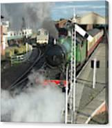 Steam Train Leaving Station Canvas Print