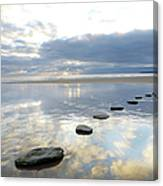 Stepping Stones Over Water With Sky Canvas Print