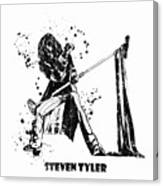 Steven Tyler Microphone Aerosmith Black And White Watercolor 02 Canvas Print