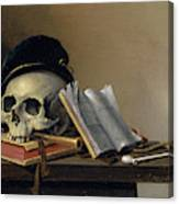 Still Life With Skull, Books, Flute And Pipe Canvas Print