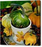 Still Live With Autumn Coffee Cup And Gourds Canvas Print