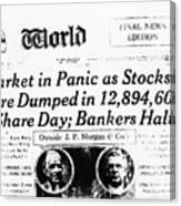 Stock Market Crash On World Headline Canvas Print