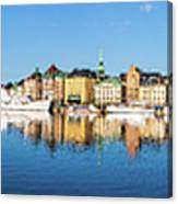 Stockholm Old City Fantastic Golden Hour Sunrise Reflection In The Baltic Sea Canvas Print