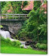 Stone Bridge And Waterfall Landscape Canvas Print
