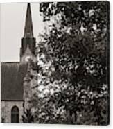 Stone Chapel - Black And White Canvas Print