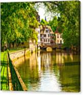 Strasbourg, Water Canal In Petite Canvas Print