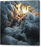 Streetlamp In The Snow Canvas Print