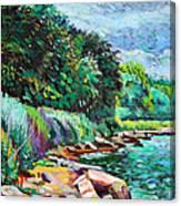 Summer Shore Of Hudson River, New York Canvas Print