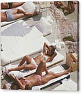 Sunbathers At Eden Roc Canvas Print
