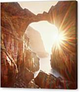Sunflare Through Arch Of Keyhole Canvas Print