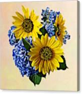 Sunflowers And Hydrangeas Canvas Print